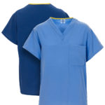 Front and back views of Dempsey Uniform PerforMAX scrub shirts