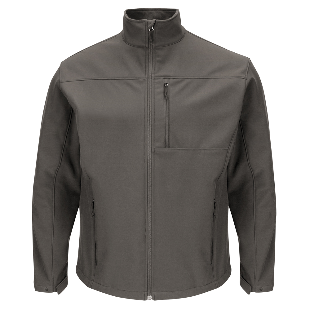 Front and back view of Dempsey Uniform soft-shell jacket