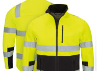 Front and back view of Dempsey Uniform high visibility soft shell jacket