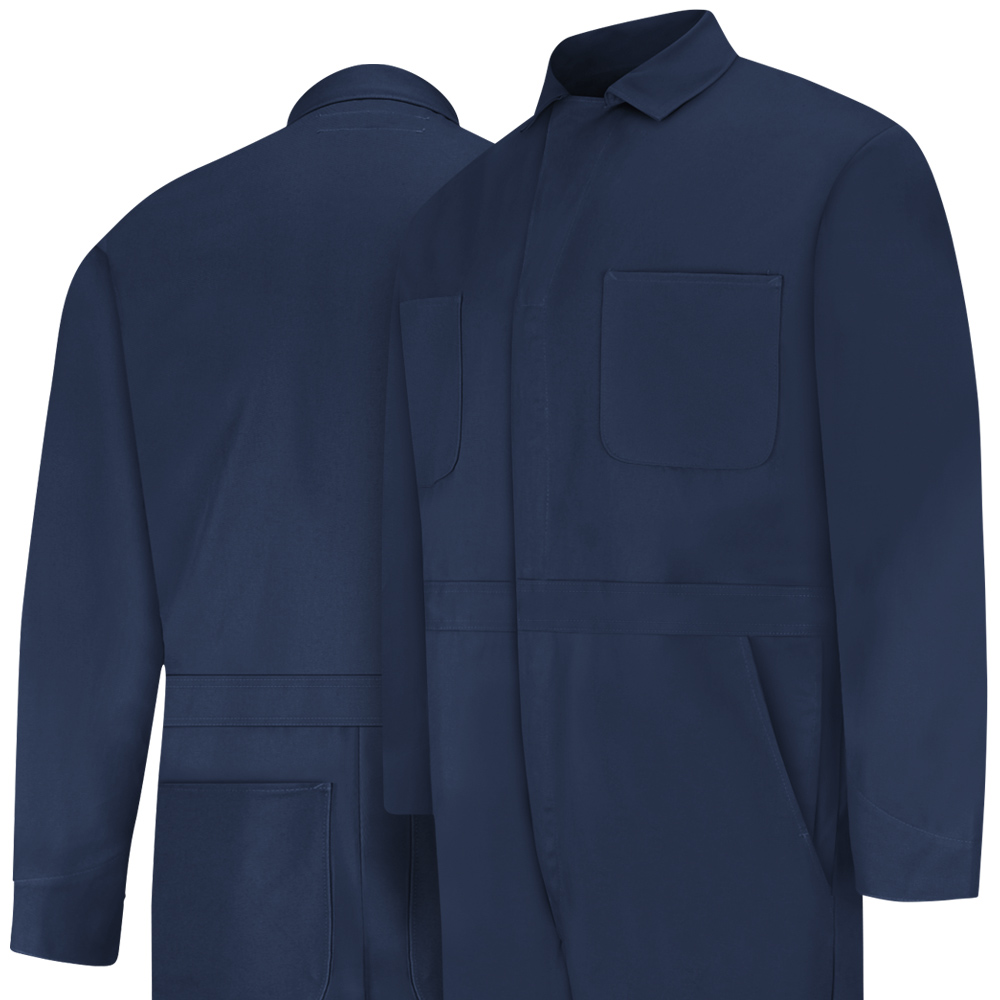 Front and back view of Dempsey Uniform 100% cotton coveralls