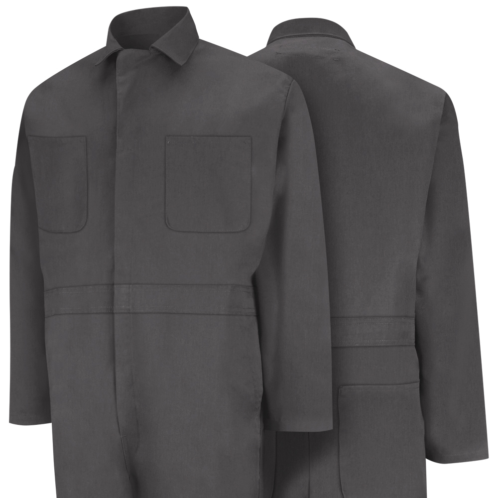 Front and back view of Dempsey Uniform action back coveralls