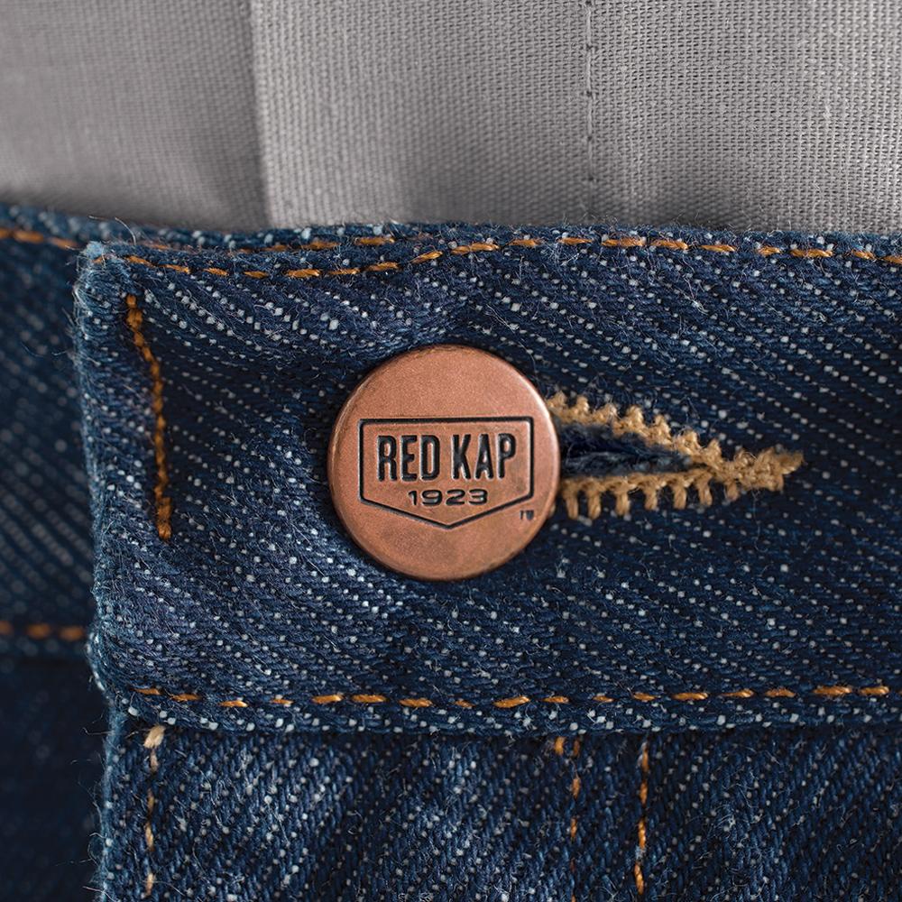 Close-up of button closure on Dempsey Uniform authentic RK denim jeans