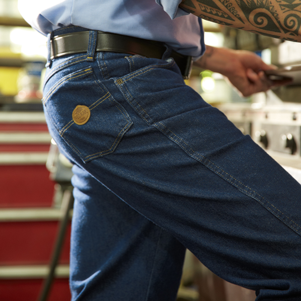 Man wearing relaxed fit Dempsey Uniform authentic RK denim jeans