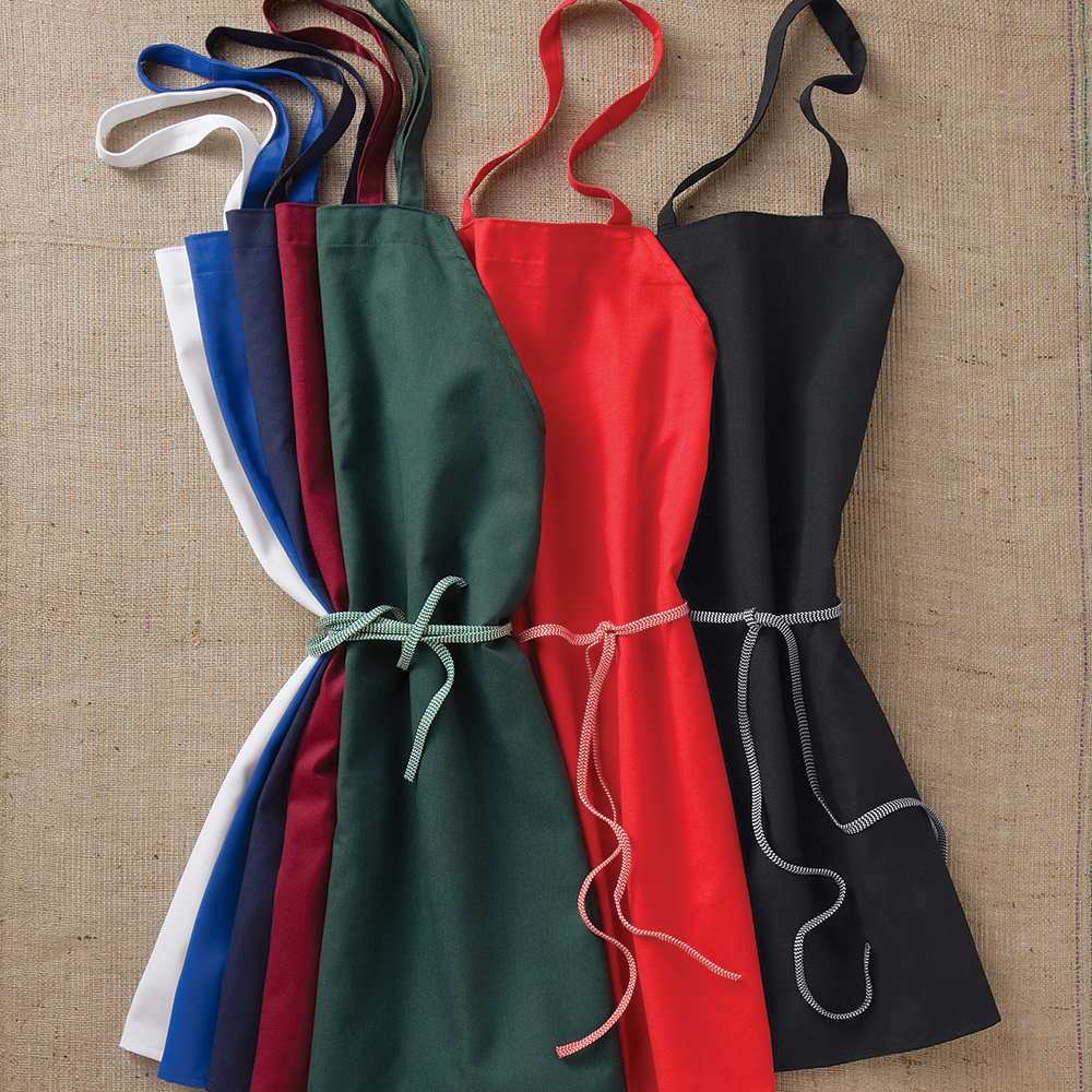 Dempsey Uniform bib aprons in various colors