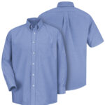 Front and back view of blue Dempsey Uniform button-down shirt