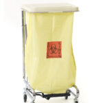 Front view of Dempsey Uniform rolling chrome hamper stand with bag