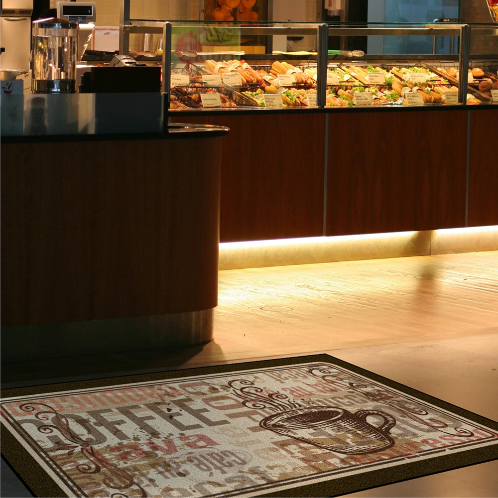 Dempsey Uniform coffee message mat design