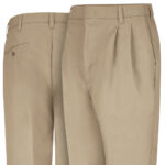 Front and back view of Dempsey Uniform double-pleated pants