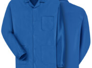 Front and back view of blue Dempsey Uniform ESD anti-static jacket