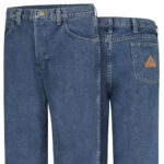 Front and back view of Dempsey Uniform flame resistant denim jeans