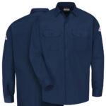 Front and back view of Dempsey Uniform flame resistant work shirt