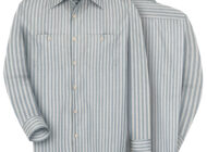 Front and back view of green and khaki Dempsey Uniform striped work shirt