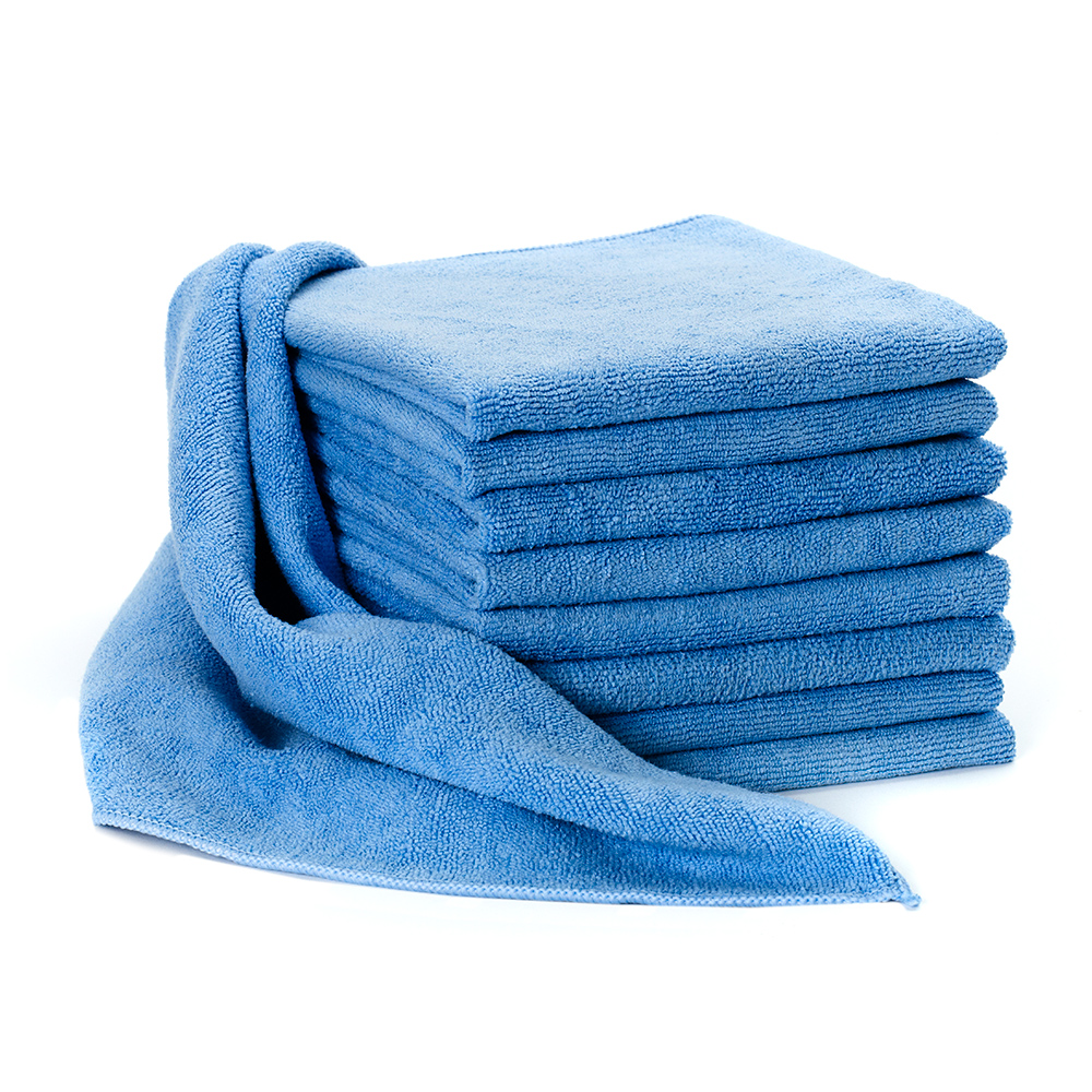 Stack of Dempsey Uniform microfiber cleaning towels