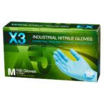 Box of Dempsey Uniform blue nitrile disposable gloves