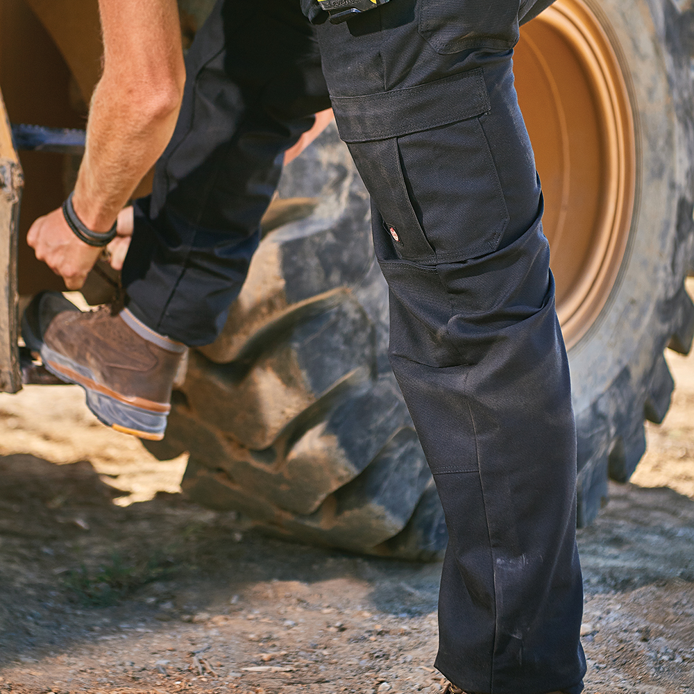 Construction worker wearing Dempsey Uniform Performance Cargo Pants