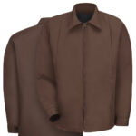 Front and back view of Dempsey Uniform perma-lined panel jacket