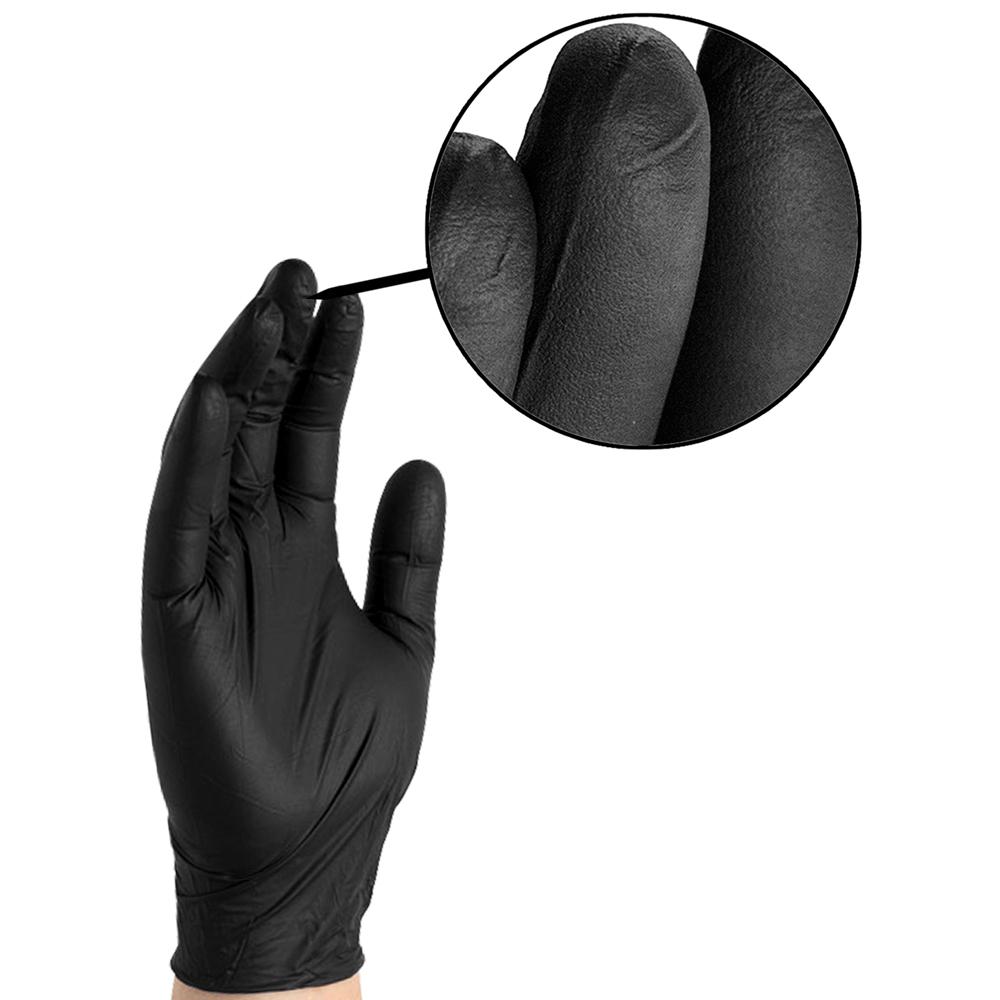 Dempsey Uniform black premium nitrile glove showing fingertip fit