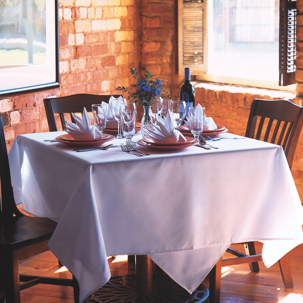 White Dempsey Uniform tablecloth in a table setting