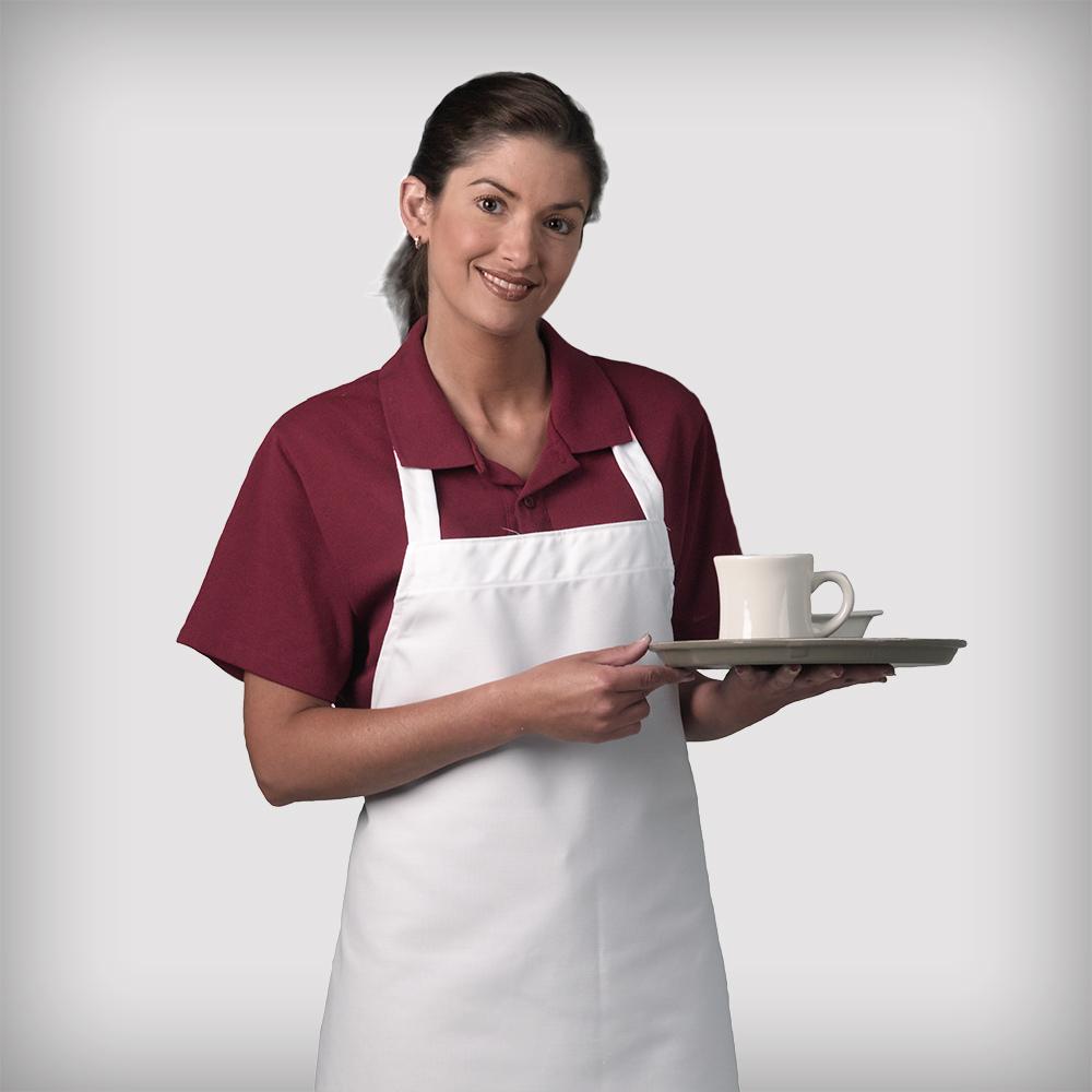 Server wearing a Dempsey Uniform white bib apron