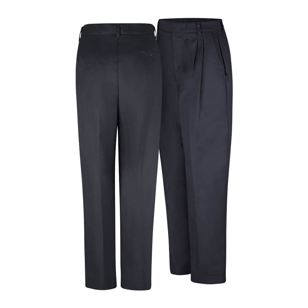 Front and back view of black Dempsey Uniform womens double-pleated pants